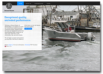 bennett boats web site design and development